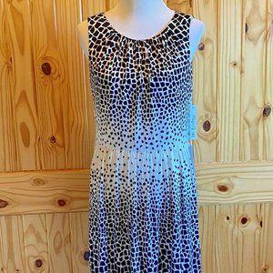 NWT Elizja J Black White Print Dress with Pockets